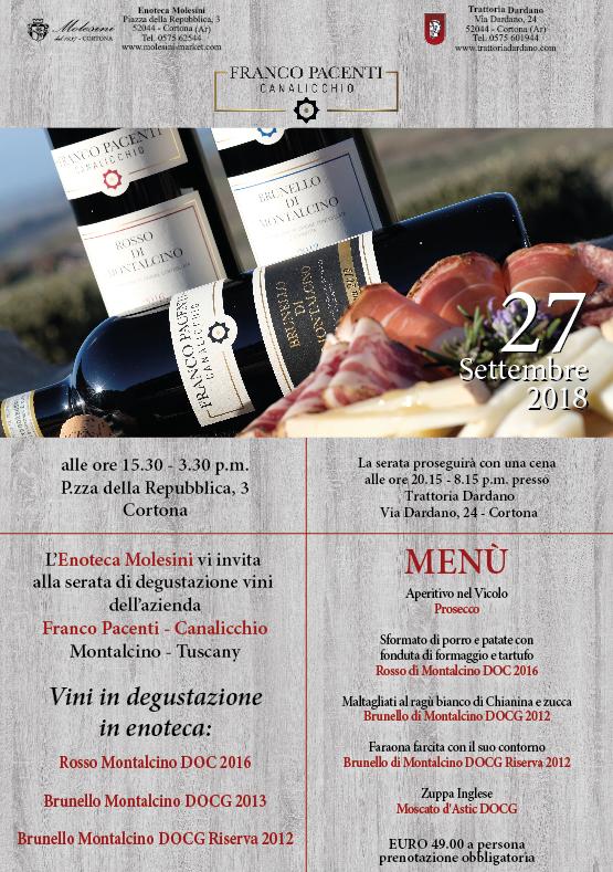 Degustazione e Wine Dinner all'Enoteca Molesini di Cortona