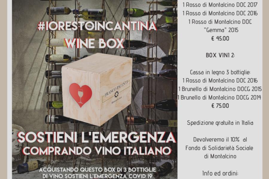 Sosteniamo l'emergenza Covid-19 con il progetto #iorestoincantina